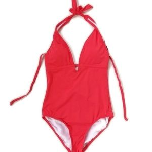 Laundry by Shelli Segal Fire Coral Plunge Swimsuit